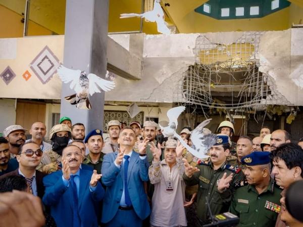 وزير الداخلية ومحافظ عدن يدشنا إعادة تشغيل مطار عدن